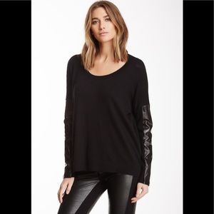 NWT Acrobat sweater with faux leather sleeves sz m